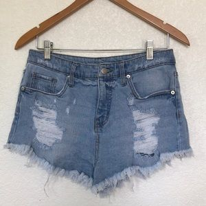 Wild Fable light denim high waisted cutoff shorts